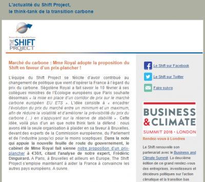 Aperçu newsletter shift Project mars 2016